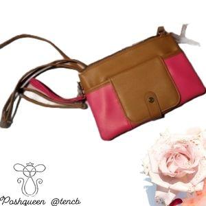 Pink and Brown Shoulder Bag